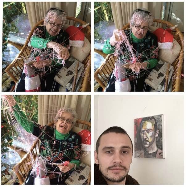 James Franco got his nanna with the silly string.