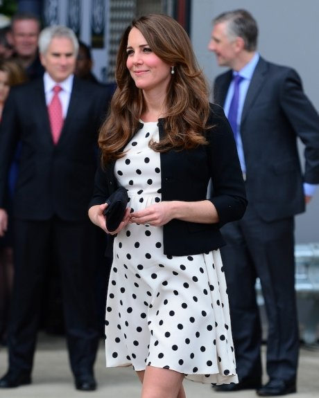 Kate Middleton wearing a $76 polka dot Topshop dress at a Warner Bros event in London..