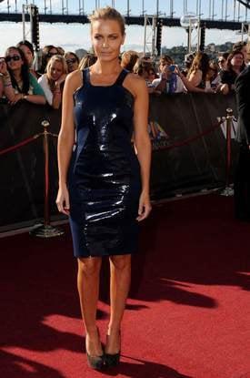 Lara Bingle long blue dress