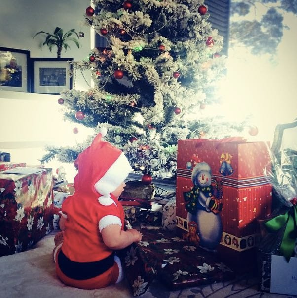 Megan Gale's son got presents that were larger than he is.