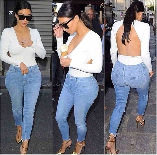 This is how Kim K does casual denim.