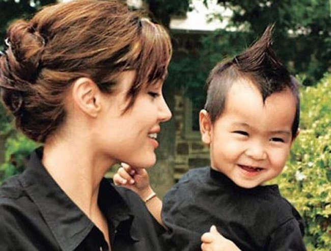 Angelina Jolie with baby Maddox.