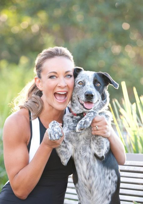 Michelle Bridges and dog Paddy
