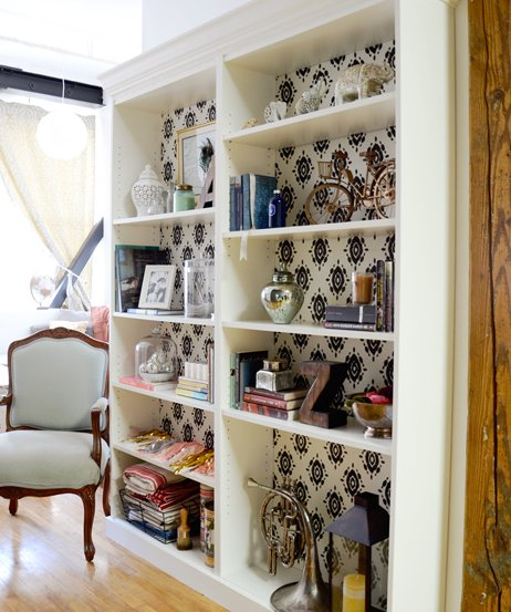 beveled crown molding with patterned backing - Billy Bookshelves