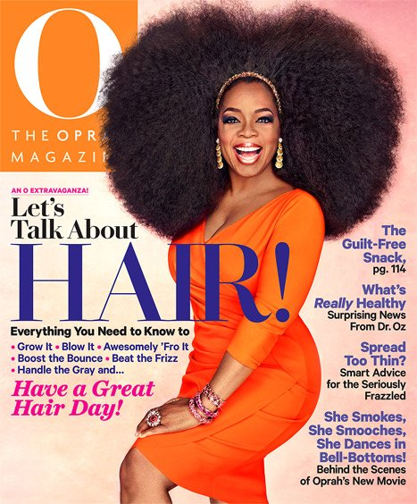 Oprah Winfrey wearing a giant wig on the cover of The Oprah Magazine