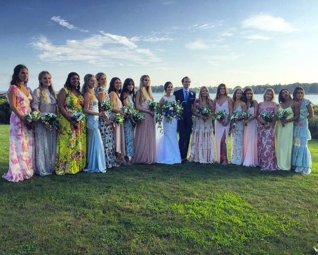 bridesmaids choose their own dresses