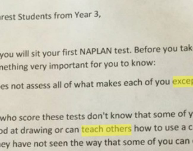 Letter To Students.The Naplan Letter For Students That They Should Have Received