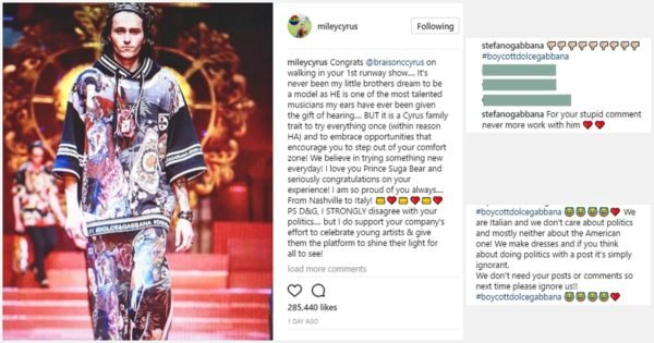 4e5a31cc Miley Cyrus Dolce and Gabbana fued over singer's Instagram post.