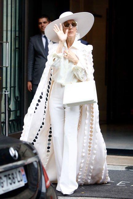 Celine Dion leaves her hotel in Paris