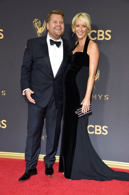 James Corden (L) and producer Julia Carey emmys
