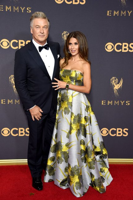 Alec Baldwin (L) and TV personality Hilaria Baldwin emmys