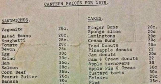 Barry Has Shared Canteen Prices 70s And Things Have Changed