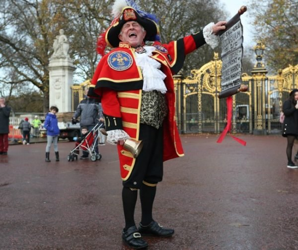 Tony Appleton in his full get-up outside Buckingham Palace. Image: Getty.