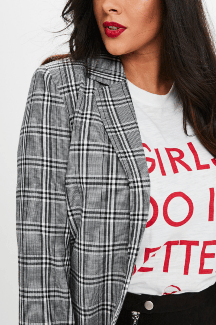 Missguided Curve Black Check Longline Blazer
