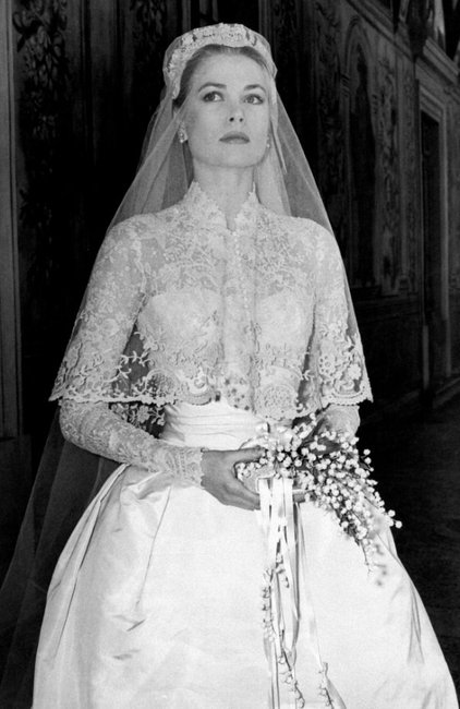 Grace Kelly stunned the world in this exotic wedding dress. She wore the gown for her wedding to Monaco's Prince Rainier III in 1956. Image: Getty.