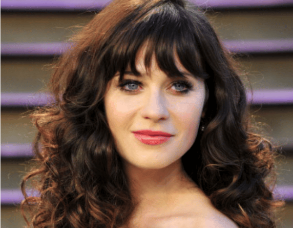 Zooey Deschanal without bangs is totally unrecogisable.
