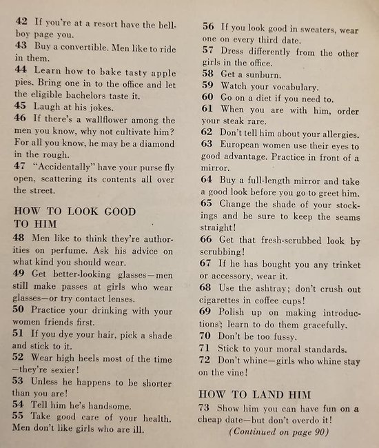 """""""129 Ways To Find A Husband"""": A 1950s Article On How To"""
