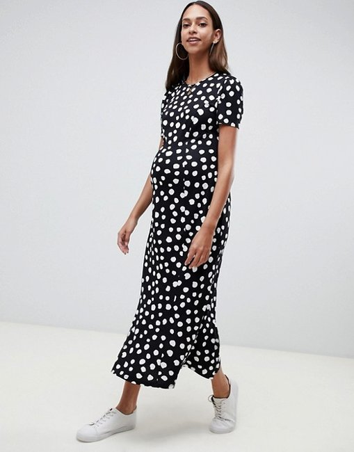 asos maternity spot dress