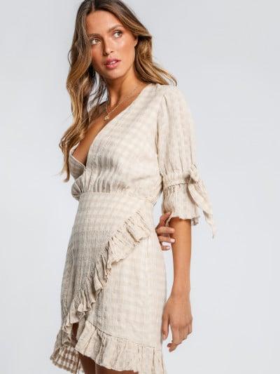 linen ruffle wrap dress