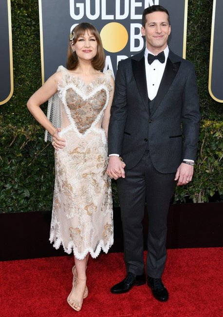 golden globes 2019 red carpet fashion Andy Samberg Joanna Newsom