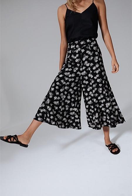 work pants women wide leg cropped