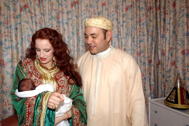 Princess Lalla Salma and King Mohammed VI of Morocco with their newborn son