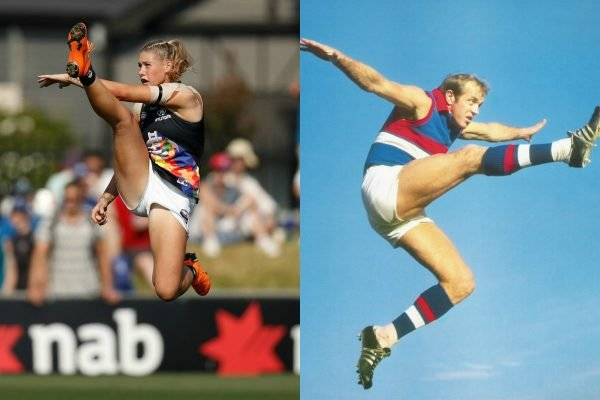 The men's AFL photos that say everything about the trolling of Tayla Harris.