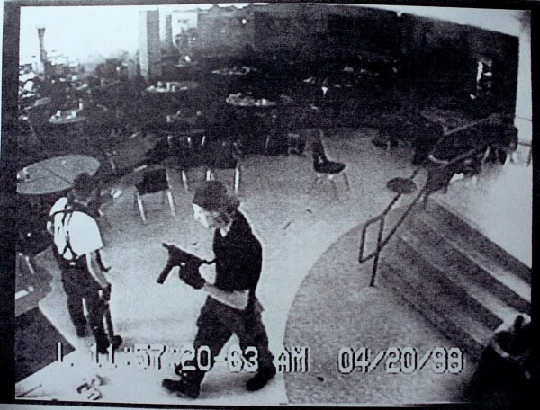 Surveillance Tape Of Columbine High School Shooting
