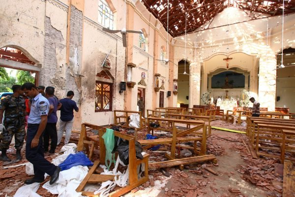 Sri Lankan officials inspect St. Sebastian's Church in Negombo, north of Colombo
