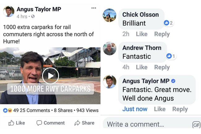 angus taylor facebook comment