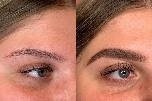 curly eyebrows before and after