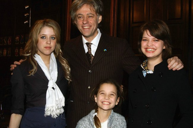 Peaches, Pixie and Tiger Lily with Bob Geldof