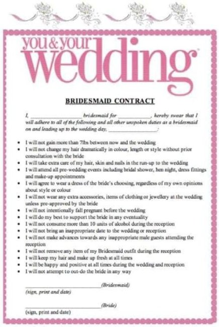 bridesmaid contract