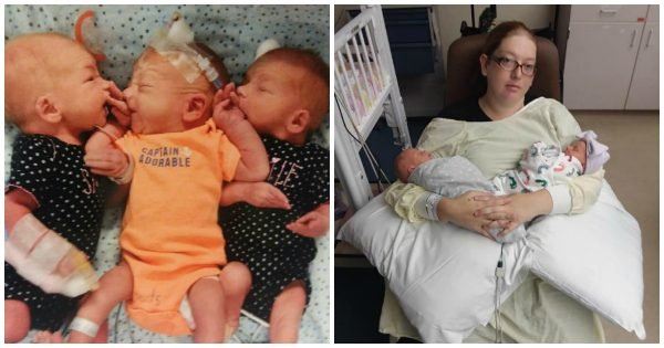 Dannette thought she had kidney stones, so she went to the ER. She left with triplets.