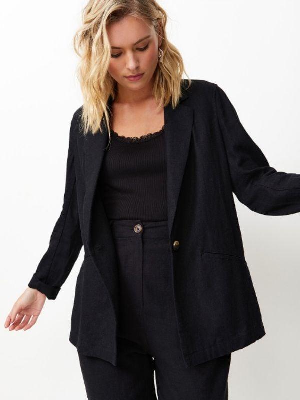 Sportsgirl Black Linen Blazer
