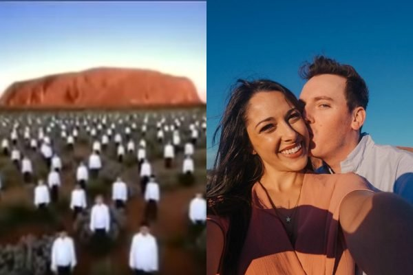 Ell met Paul on Qantas' 'I Still Call Australia Home' ad. 16 years later, he proposed at Uluru.