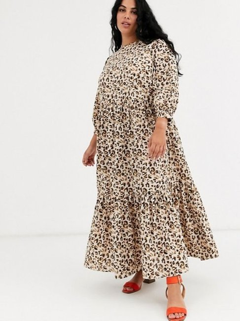 ASOS DESIGN Curve Tiered Maxi Dress in Leopard Print