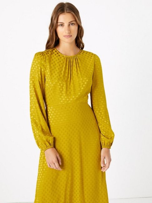 Marks & Spencer Jacquard Spot Fit & Flare Midi Dress