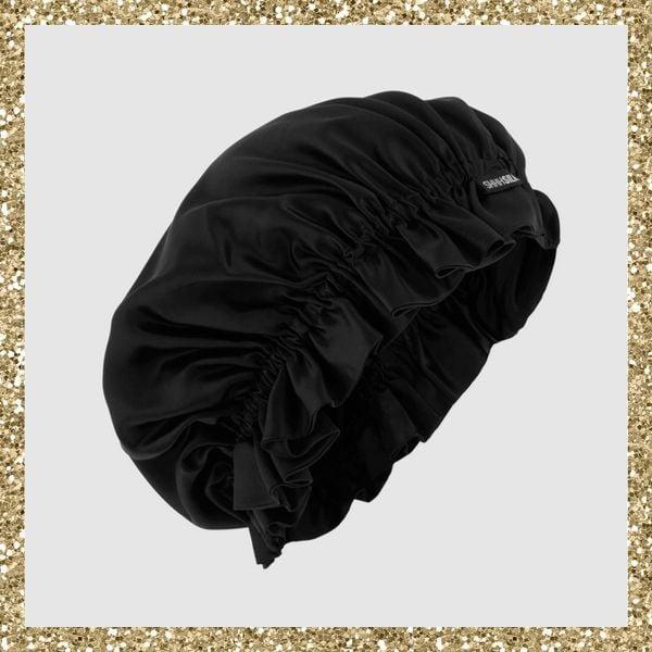 Shhh SilkBlack Silk Sleep Bonnet