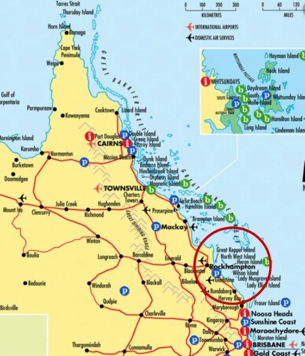 Map of Rockhampton. Image via Queensland Tourism.