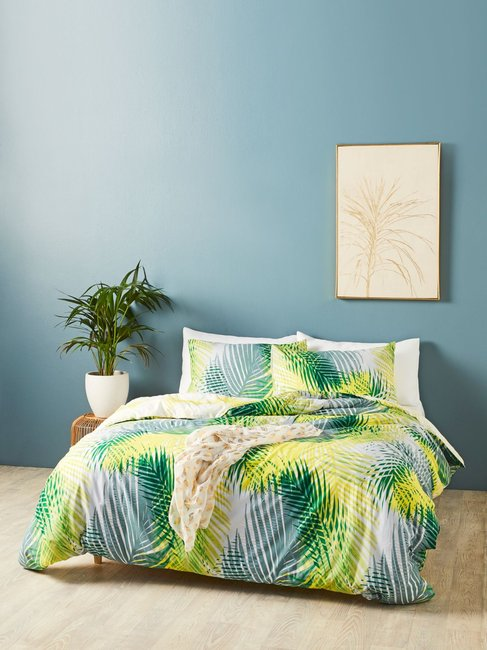 House & Home Summer Fern Reversible Quilt Cover Set