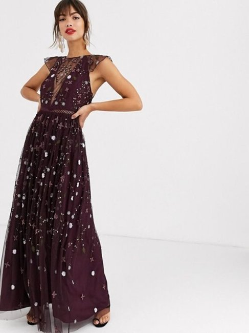 ASOS DESIGN Embroidered Floral and Sequin Maxi Dress