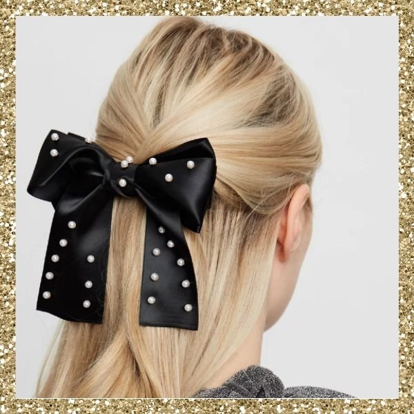 Johnny Loves Rosie Large Pearl Embellished Hair Barrette Bow