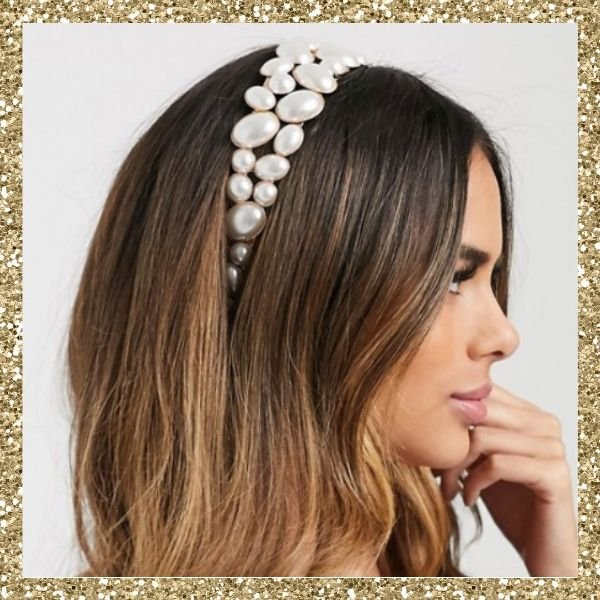 ASOS DESIGN Headband with Pearl Embellishment