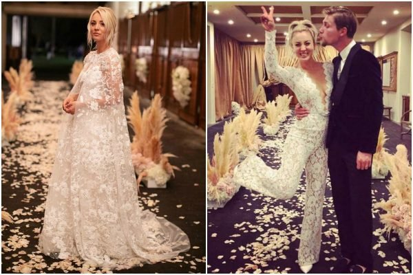 two wedding dresses Kaley Cuoco