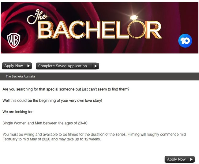 bachelor australia application 2020