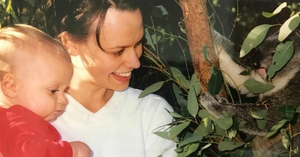 Mia Freedman with her eldest son.