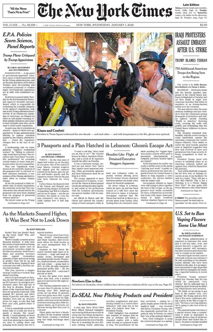 new york times bushfire front page