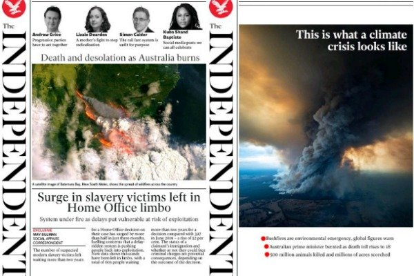 The Independent bushfires front pages