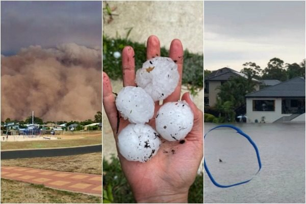 Hail, flash floods and dust storms: Just 7 photos of Australia's extreme weather over the weekend.